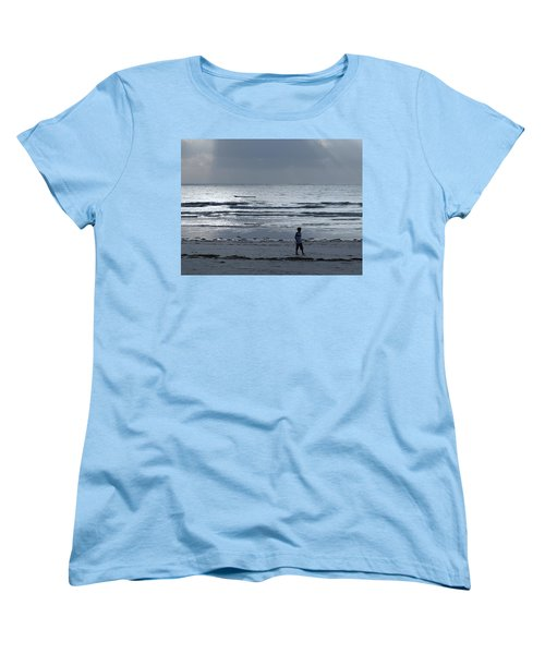 Morning Beach Walk On A Grey Day - Lone Dhow Women's T-Shirt (Standard Fit)