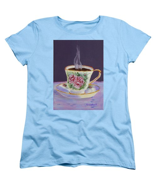 Women's T-Shirt (Standard Cut) featuring the drawing Morning Coffee by Quwatha Valentine