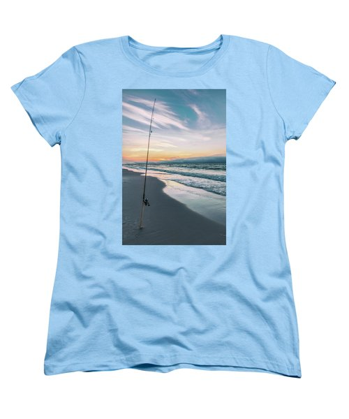 Women's T-Shirt (Standard Cut) featuring the photograph Morning Fishing At The Beach  by John McGraw