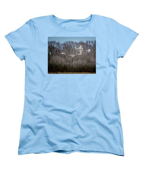 Morning Flight Of Tundra Swan Women's T-Shirt (Standard Cut)