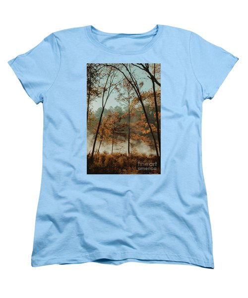 Morning Fog At The River Women's T-Shirt (Standard Cut) by Iris Greenwell