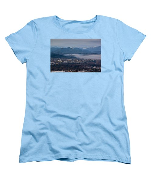 Morning Fog Over Grants Pass Women's T-Shirt (Standard Cut) by Mick Anderson