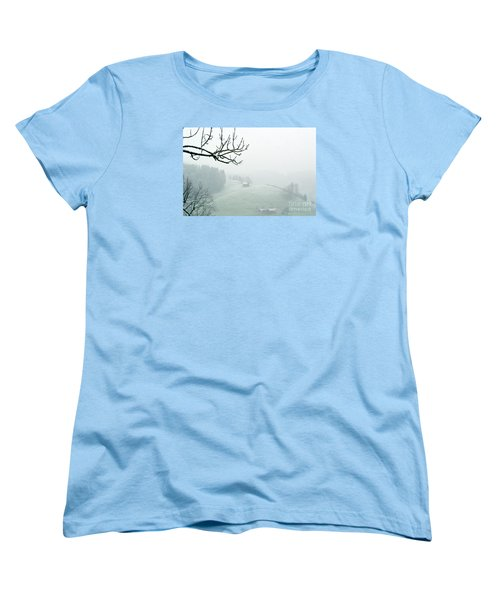 Women's T-Shirt (Standard Cut) featuring the photograph Morning Fog - Winter In Switzerland by Susanne Van Hulst