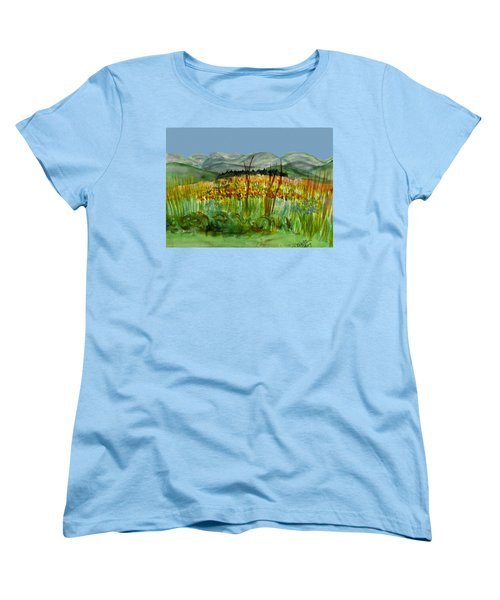 Women's T-Shirt (Standard Cut) featuring the painting Morning In Backyard At Barton by Donna Walsh
