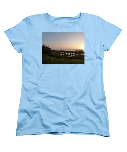 Morning Sunrise Over Assateaque Island Women's T-Shirt (Standard Cut) by Donald C Morgan
