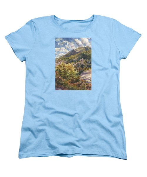 Women's T-Shirt (Standard Cut) featuring the painting Morning Walk At Mount Sanitas by Anne Gifford