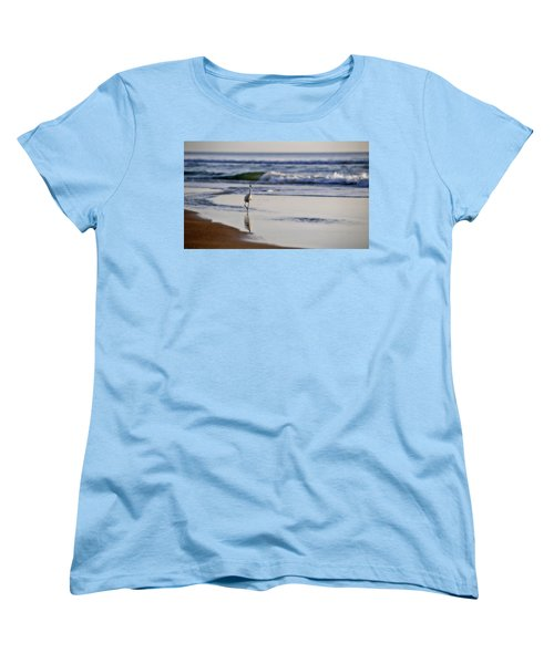 Women's T-Shirt (Standard Cut) featuring the photograph Morning Walk At Ormond Beach by Steven Sparks