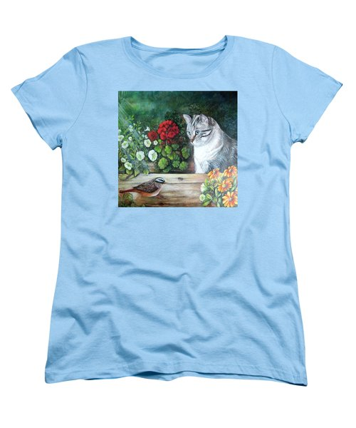 Women's T-Shirt (Standard Cut) featuring the painting Morningsurprise by Patricia Schneider Mitchell