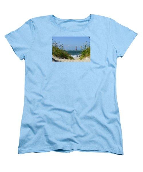 Morris Island Lighthouse Walkway Women's T-Shirt (Standard Cut) by Jennifer White
