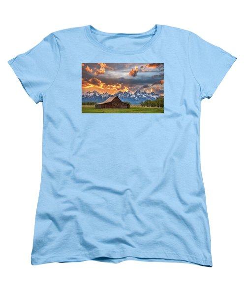Moulton Barn Sunset Fire Women's T-Shirt (Standard Cut) by Darren White
