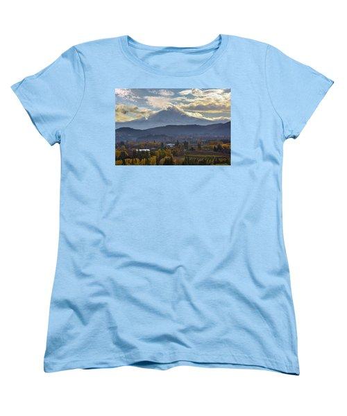 Mount Hood Over Hood River Valley In Fall Women's T-Shirt (Standard Fit)