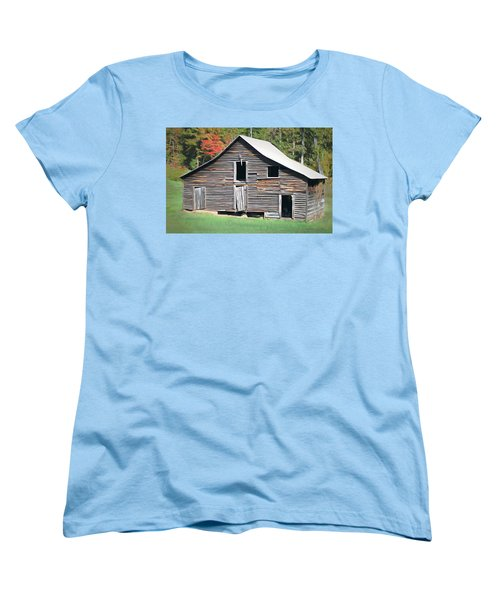 Women's T-Shirt (Standard Cut) featuring the photograph Mountain Barn by Marion Johnson