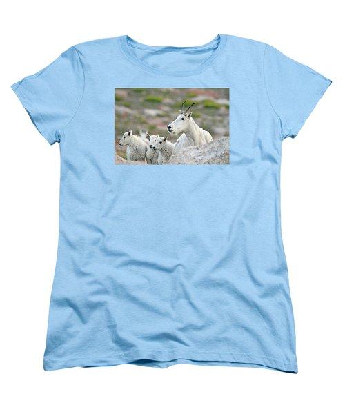 Women's T-Shirt (Standard Cut) featuring the photograph Mountain Goat Family by Scott Mahon