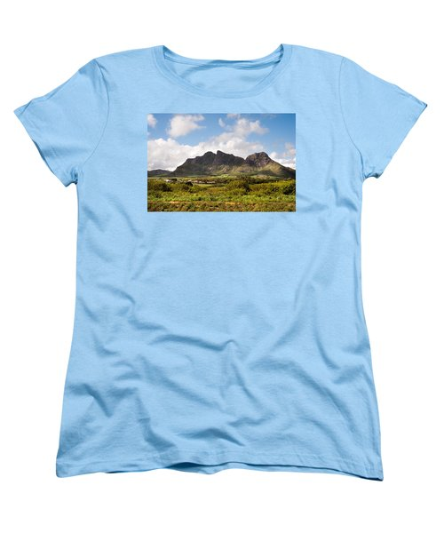 Women's T-Shirt (Standard Cut) featuring the photograph Mountain Range In Mauritius by Jenny Rainbow