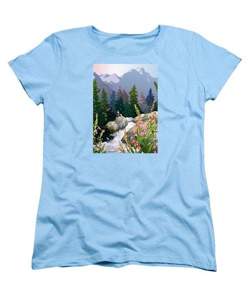 Mountain Stream Women's T-Shirt (Standard Cut) by Anne Gifford