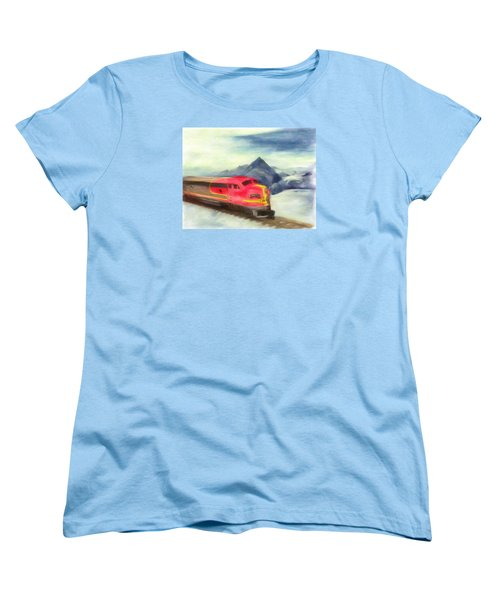 Women's T-Shirt (Standard Cut) featuring the painting Mountain Train by Michael Cleere