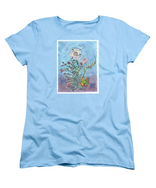 Women's T-Shirt (Standard Cut) featuring the painting Mountain Wildflowers II by Dawn Senior-Trask