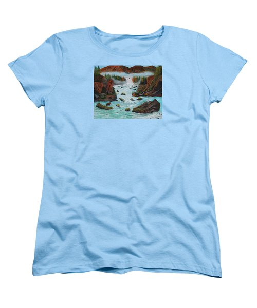 Women's T-Shirt (Standard Cut) featuring the painting Mountains High by Myrna Walsh