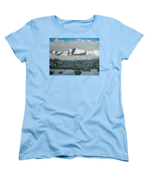 Women's T-Shirt (Standard Cut) featuring the painting Mt Princeton Co by Norm Starks