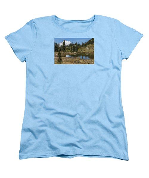 Mt Rainier Reflection Landscape Women's T-Shirt (Standard Cut) by Chuck Flewelling