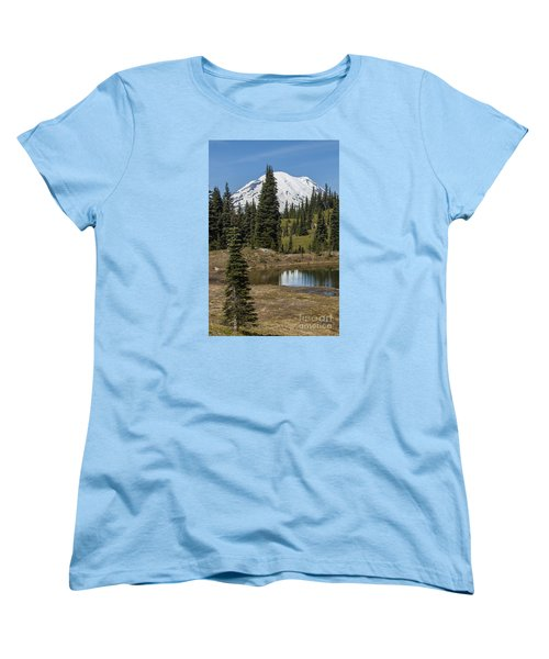 Mt Rainier Reflection Portrait Women's T-Shirt (Standard Cut) by Chuck Flewelling