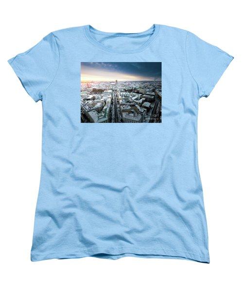 Women's T-Shirt (Standard Cut) featuring the photograph Munich - Sunrise At A Winter Day by Hannes Cmarits