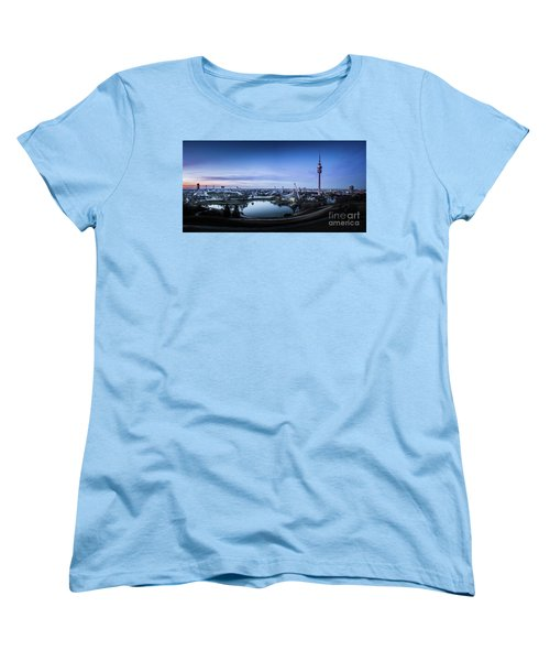 Women's T-Shirt (Standard Cut) featuring the photograph Munich - Watching The Sunset At The Olympiapark by Hannes Cmarits