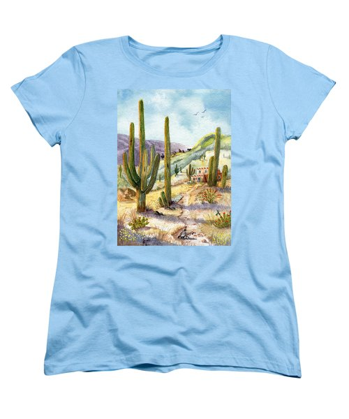 Women's T-Shirt (Standard Cut) featuring the painting My Adobe Hacienda by Marilyn Smith