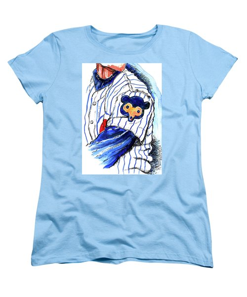 Women's T-Shirt (Standard Cut) featuring the painting My Favorite Chicago Cub by Terry Banderas
