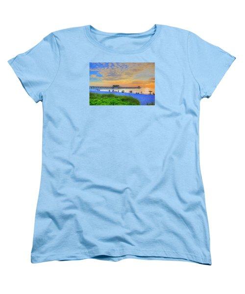 Women's T-Shirt (Standard Cut) featuring the digital art Naples Beach by Sharon Batdorf