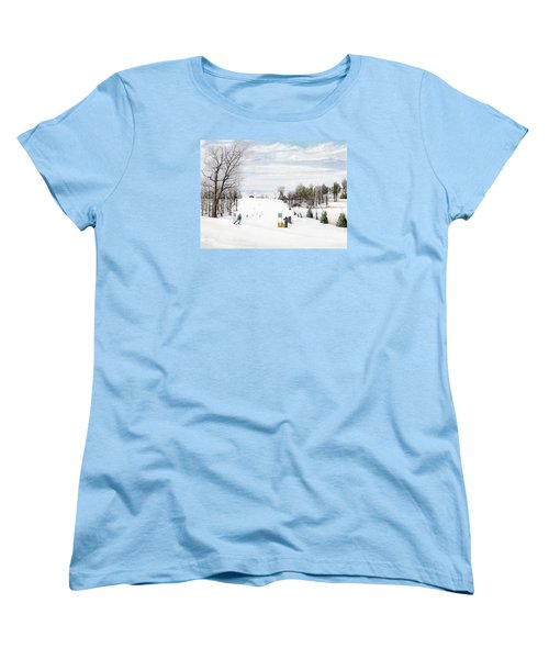 Women's T-Shirt (Standard Cut) featuring the painting Nastar At Seven Springs Mountain Resort by Albert Puskaric