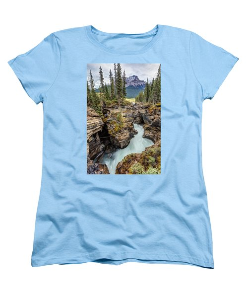 Women's T-Shirt (Standard Cut) featuring the photograph Natural Flow Of Athabasca Falls by Pierre Leclerc Photography