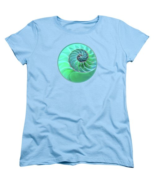 Nautilus Aqua Spiral Women's T-Shirt (Standard Cut) by Gill Billington