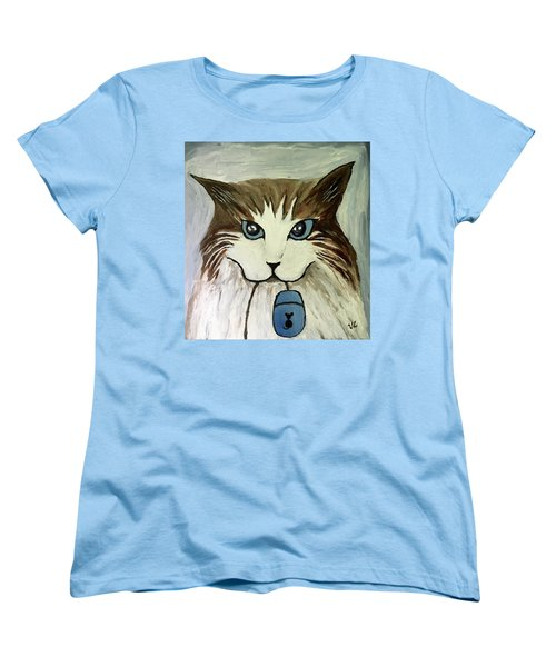 Women's T-Shirt (Standard Cut) featuring the painting Nerd Cat by Victoria Lakes