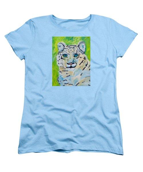 Eyes On You Snow Leopard Women's T-Shirt (Standard Cut) by Meryl Goudey