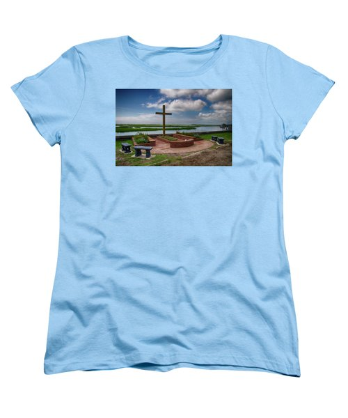 Women's T-Shirt (Standard Cut) featuring the photograph New Garden Cross At Belin Umc by Bill Barber