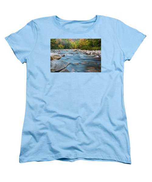 New Hampshire Swift River And Fall Foliage In Autumn Women's T-Shirt (Standard Cut) by Ranjay Mitra