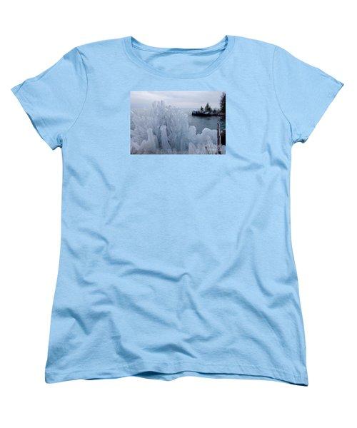 New Ice On Lake Superior Women's T-Shirt (Standard Cut) by Sandra Updyke