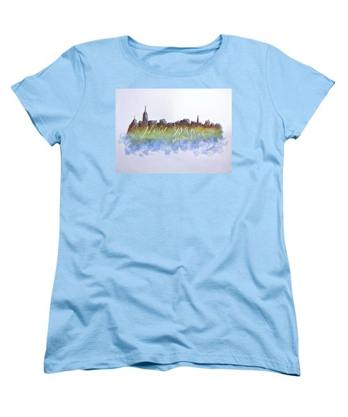 Women's T-Shirt (Standard Cut) featuring the painting New York After Time by Edwin Alverio