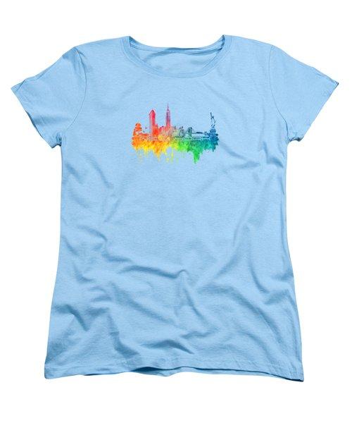 New York City Skyline Color Women's T-Shirt (Standard Cut) by Justyna JBJart