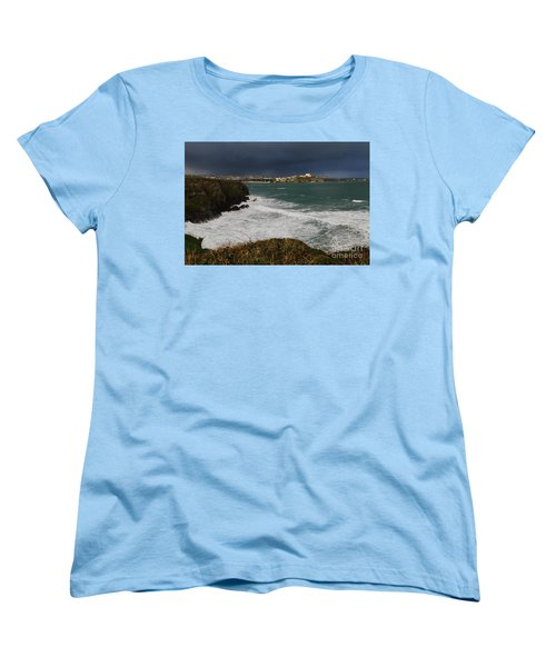 Women's T-Shirt (Standard Cut) featuring the photograph Newquay Squalls On Horizon by Nicholas Burningham