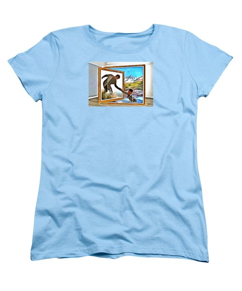 Women's T-Shirt (Standard Cut) featuring the painting Night At The Art Gallery - One To Another by Wayne Pascall