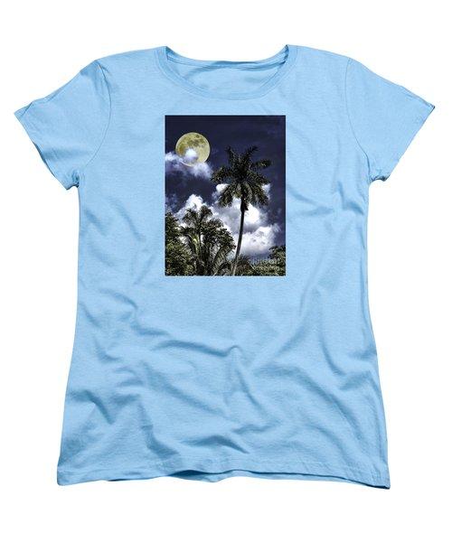 Women's T-Shirt (Standard Cut) featuring the photograph Night Palms by Ken Frischkorn