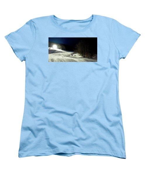 Women's T-Shirt (Standard Cut) featuring the photograph Night Skiing At Mccauley Mountain by David Patterson