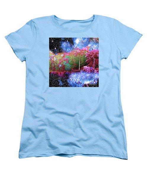 Night Trees Starry Lake Women's T-Shirt (Standard Cut) by Saundra Myles