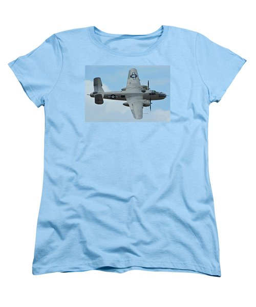 Women's T-Shirt (Standard Cut) featuring the photograph North American B-25j Mitchell N9856c Pacific Princess Chino California April 30 2016 by Brian Lockett