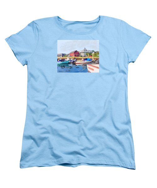 North Shore Art Association At Pirates Lane On Reed's Wharf From Beacon Marine Basin Women's T-Shirt (Standard Cut) by Melissa Abbott