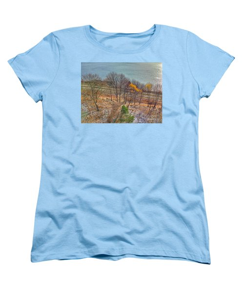 November Snow On Casco Bay Women's T-Shirt (Standard Cut) by Patricia E Sundik