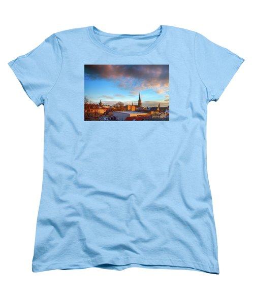 Novi Sad Roofs Lit By The Setting Sun Women's T-Shirt (Standard Cut) by Jivko Nakev