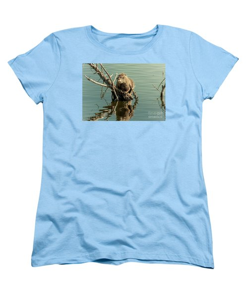 Women's T-Shirt (Standard Cut) featuring the photograph Nutria On Stick-up by Robert Frederick
